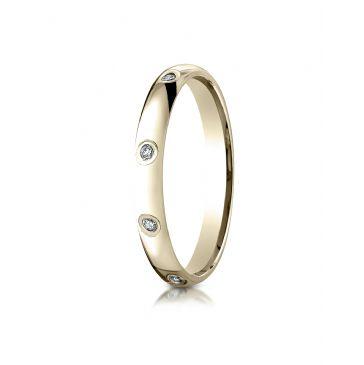 18k Yellow Gold 3mm  Comfort-Fit Burnish Set 8-Stone Diamond Eternity Ring (.16ct)