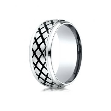 Cobaltchrome  9mm Comfort Fit Blackened Cross Hatch Ring