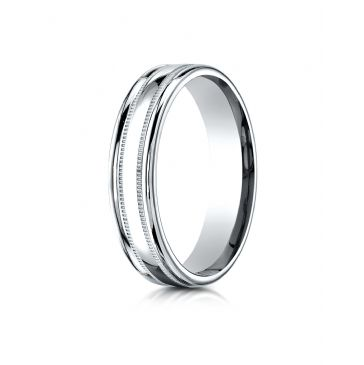 18k White Gold 4mm Comfort-Fit  High Polished finish with a round edge and milgrain Carved Design Band