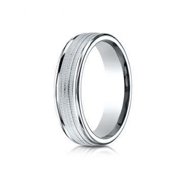 Palladium 6mm Comfort-Fit  multi milgrain center high polish round edge Design band