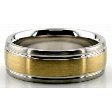 18K Gold Two Tone 7mm Satin Finish Comfort Fit Wedding Band 204