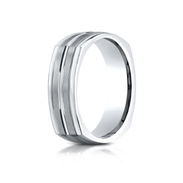 14k White Gold 7mm Comfort-Fit Satin-Finished Center Cut Four-Sided Carved Design Band
