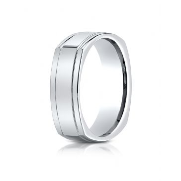 14k White Gold 7mm Comfort-Fit High Polished Four-Sided Carved Design Band
