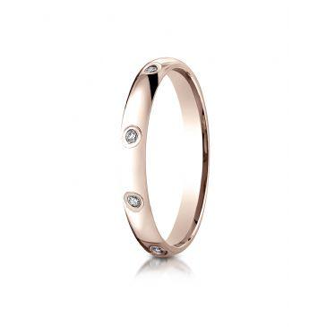 14k Rose Gold 3mm  Comfort-Fit Burnish Set 8-Stone Diamond Eternity Ring (.16ct)