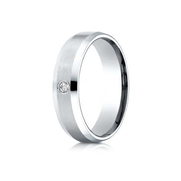 Platinum Gold 6mm Comfort-Fit Beveled Burnish Set 1-Stone Diamond Ring (.08ct)