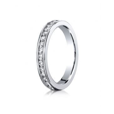 Platinum Gold 3mm Channel Set  Eternity Ring.