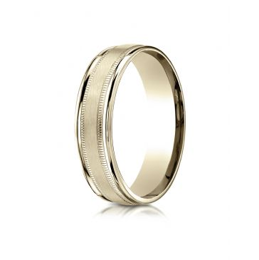 14k Yellow Gold 6mm Comfort-Fit Satin Finish Center with Milgrain Round Edge Carved Design Band