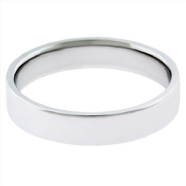 14k White Gold 3mm Flat Wedding Band Medium Weight