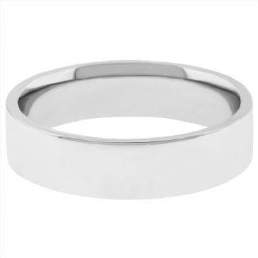 14k White Gold 4mm Flat Wedding Band Medium Weight