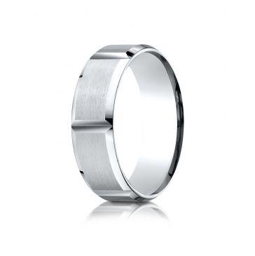 Platinum 7mm Comfort-Fit Satin-Finished Grooves Carved Design Band