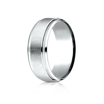 Platinum 7mm Comfort-Fit Drop Bevel Swirl Finish Center Design Band