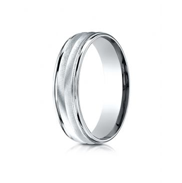 10k White Gold 6mm Comfort-Fit Chevron Design High Polished Round Edge Carved Design Band
