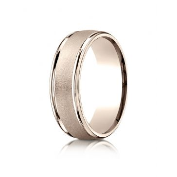 14k Rose Gold 7mm Comfort-Fit Wired-Finished High Polished Round Edge Carved Design Band