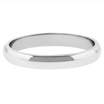 18k White Gold 3mm Dome Wedding Band Medium Weight
