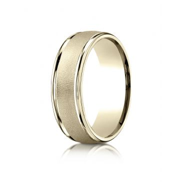 14k Yellow Gold 7mm Comfort-Fit Wired-Finished High Polished Round Edge Carved Design Band