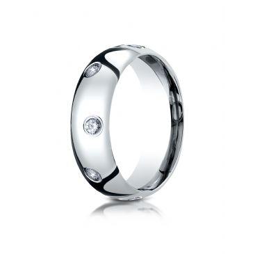 Palladium 6mm Comfort-Fit Burnish Set 8-Stone Diamond Eternity Ring (.32ct)