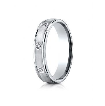 14k White Gold 4mm Comfort-Fit burnish Set 8-Stone Diamond Eternity Ring (.16ct)