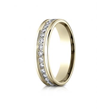 14k Yellow Gold 4mm Comfort-Fit Channel Set  Diamond Eternity Ring.