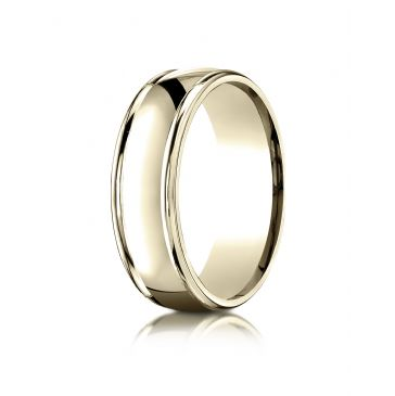 14k Yellow Gold 7mm Comfort-Fit  high polish finish round edge Design band