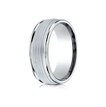 14k White Gold 8mm Comfort-Fit  multi milgrain center high polish round edge Design band