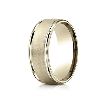 18k Yellow Gold 8mm Comfort-Fit Wire brush Finish High Polished Round Edge Carved Design Band