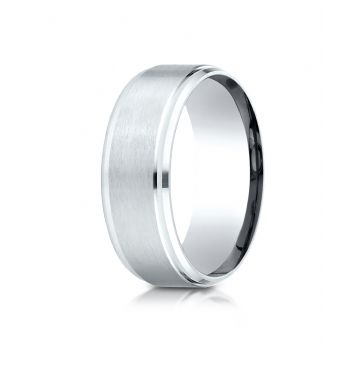Platinum  8mm Comfort-Fit Satin-Finished Drop Beveled Edge Carved Design Band