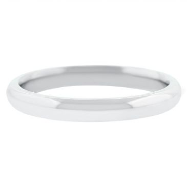 18k White Gold 3mm Comfort Fit Dome Wedding Band Heavy Weight
