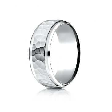 Platinum 8mm Comfort-Fit Drop Bevel Hammered Finish Design Band