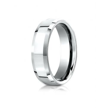 Platinum 6mm Comfort-Fit High Polished Carved Design Band