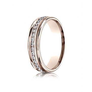 14k Rose Gold 6mm Comfort-Fit Channel Set  Diamond Eternity Ring.