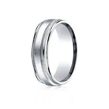 Platinum 7mm Comfort-Fit Swirl Finish Center Milgrain Round Edge Carved Design Band