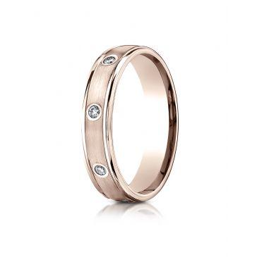14k Rose Gold 4mm Comfort-Fit burnish Set 8-Stone Diamond Eternity Ring (.16ct)
