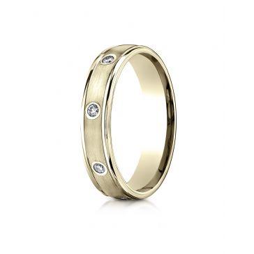 14k Yellow Gold 4mm Comfort-Fit burnish Set 8-Stone Diamond Eternity Ring (.16ct)