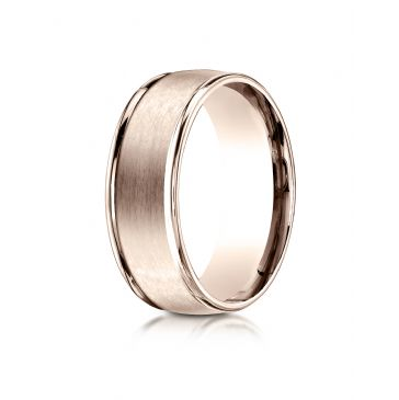 14k Rose Gold 8mm Comfort-Fit Satin Finish High Polished Round Edge Carved Design Band