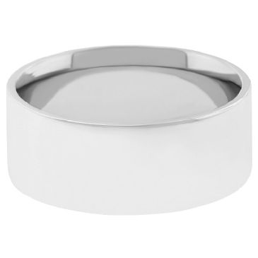 14k White Gold 7mm Flat Wedding Band Medium Weight