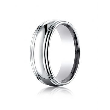 14k White Gold 7.5mm Comfort-Fit High Polished Double Round Edge Carved Design Band