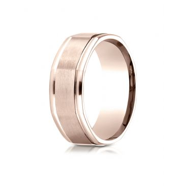 14K Rose Gold Comfort Fit 8mm High Polish Round Edge Satin Finish Octagonal Center Design Band