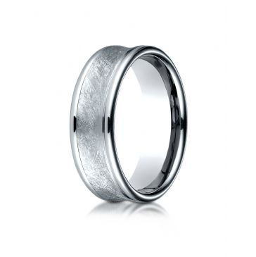 Platinum 7.5 mm Comfort Fit Swirled Finish Center  Round Edge Design Band
