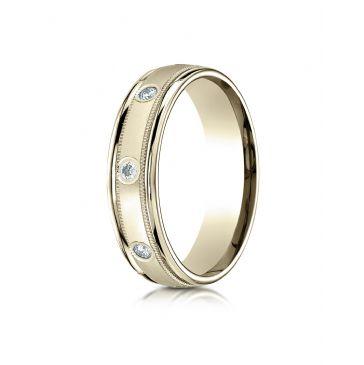 14k Yellow Gold 6mm Comfort-Fit burnish Set 8-Stone Diamond Eternity Ring with Milgrain (.32ct)