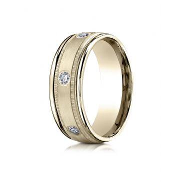 18k Yellow Gold 8mm Comfort-Fit burnish Set 6-Stone Diamond Eternity Ring with Milgrain (.48ct)