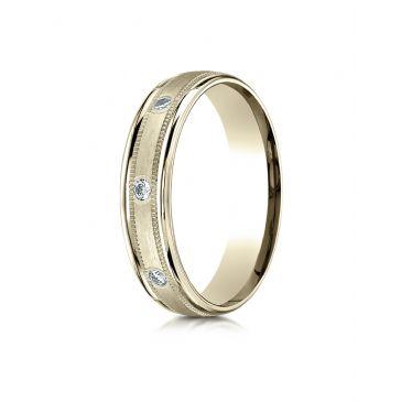 18k Yellow Gold 4mm Comfort-Fit burnish Set 8-Stone Diamond Eternity Ring with Milgrain (.16ct)