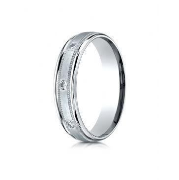 Palladium 4mm Comfort-Fit burnish Set 8-Stone Diamond Eternity Ring with Milgrain (.16ct)