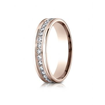 14k Rose Gold 4mm Comfort-Fit Channel Set  Diamond Eternity Ring.
