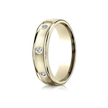 14k Yellow Gold 6mm Comfort-Fit burnish Set 8-Stone Diamond Eternity Ring (.32ct)
