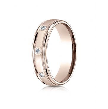 14k Rose Gold 6mm Comfort-Fit burnish Set 8-Stone Diamond Eternity Ring with Milgrain (.32ct)