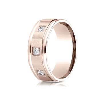 14k Rose Gold 8mm Comfort-Fit Pave Set 3-Stone Diamond Ring (.24ct)
