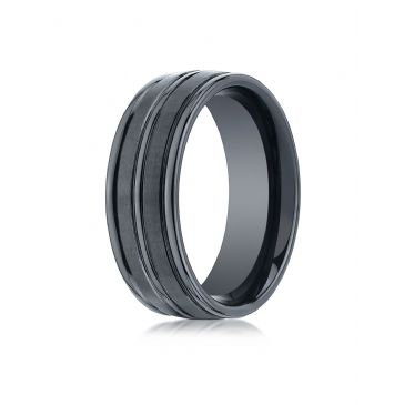 Ceramic 8mm Comfort-Fit Satin-Finished High Polished Center & Round Edge Design Ring