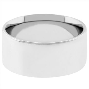 14k White Gold 8mm Flat Wedding Band Medium Weight