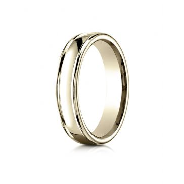 18k Yellow Gold 4mm Comfort-Fit Satin-Finished high polish finish round edge Design band