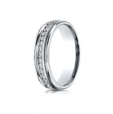 18k White Gold 6mm Comfort-Fit Channel Set  Diamond Eternity Ring.